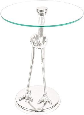 in metallo argentato /Ø 39 cm Tavolino a 3 piedi