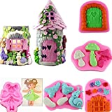 Baifeng - Moldes de silicona para fondant, diseño de casa de hadas en 3D, para hacer dulces y...