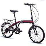 TZYY Compact Bicycle Urban Commuter,7 Speed Foldable Bike Lightweight For Men Women,20in Suspension Folding...