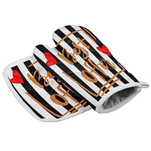 Ultra Durable Kitchen Gloves with Cotton Liner - Non-Slip Heatproof Wearproof Oven Mitts and Pot Holders, for Cooking BBQ for Men Women - Best Offer Love Pattern Black and White Stripe
