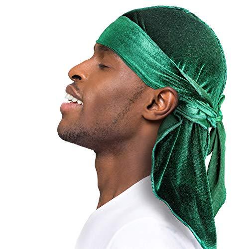 Velvet Durags for Men/Women 360 Waves Designer Do Rag Headwraps- Multiple Colors Green