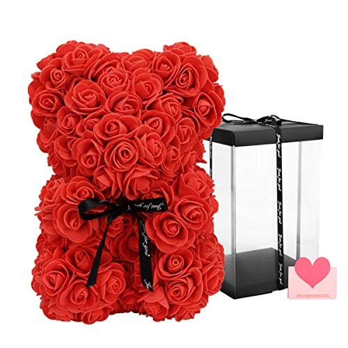 KIRE Red Rose BearRose Teddy Bear with Box Gifts for Women/Mom/Girlfriend10 inch Hand Made Red Rose Bear with Clear Gift Boxamp Blessing Cards Idea for Mothers Day/Anniversary/Weddings/Birthdays