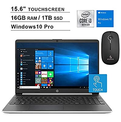 2020 HP Pavilion 15.6 Inch Touchscreen Laptop| 10th Gen Intel Core i3-1005G1 up to 3.4GHz| 16GB RAM| 1TB PCIe SSD| WiFi| Bluetooth| Webcam| Windows 10 Professional + NexiGo Wireless Mouse