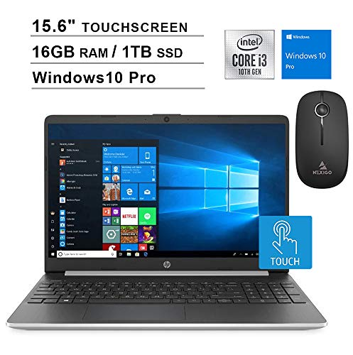 2020 HP Pavilion 15.6 Inch Touchscreen Laptop| 10th Gen Intel Core i3-1005G1 up to 3.4GHz| 16GB RAM| 1TB PCIe SSD| WiFi| Bluetooth| Webcam| Windows 10 Professional + NexiGo Wireless Mouse