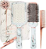 Hair Brush Set for Women - Paddle Brush, Round Blow Drying Hairbrush, Tail Comb & Clips - Professional Hairbrushes Marble & Rose Gold by Lily England