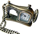 HorBous kreative Retro Vintage Bronze Taschenuhr Quarzuhren Anhänger Halskette mit Geschenkbox Set-6 Styles (Nähmaschine)