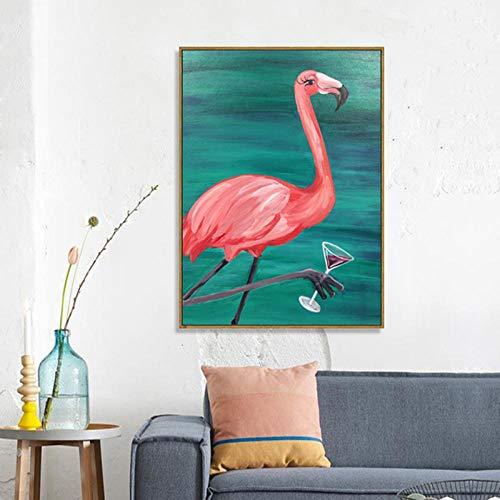 NLZNKZJ Flamingo glas wijn poster linnen schilderwerk, woonkamer slaapkamer decoratie muurkunst schilderij 60x90cm zonder lijst