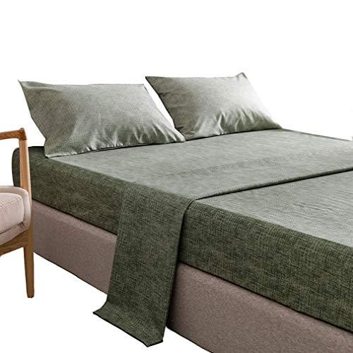 SZ JIAOJIAO Drap - taie de Quatre pièces avec la Texture de Couleur Unie et Imitation Linge de lit en Coton,Vert,96x81 in
