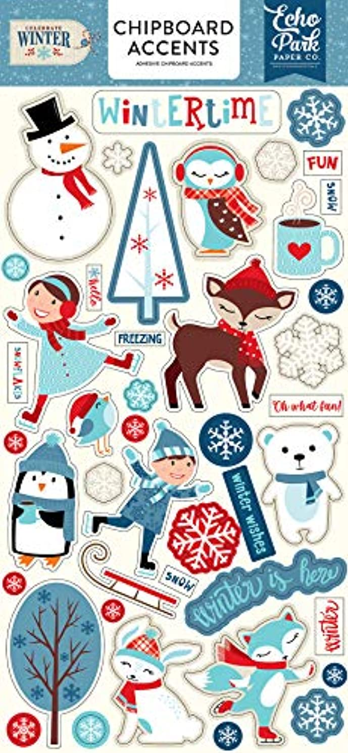 Echo Park Paper Company CW162021 Celebrate Winter 6x12 Accents chipboard, 6-x-12-Inch, Red/Blue/Navy/Green/White