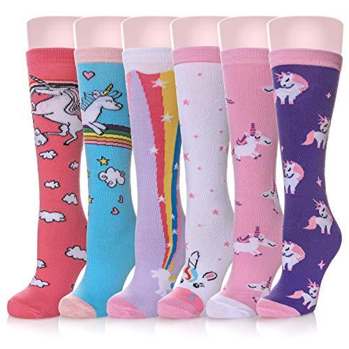 HERHOREBO Calcetines hasta la rodilla para niñas, 6 pares, diseño de animales, calcetines, calcetines, para niños Estilo unicornio. M