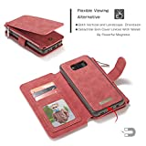 Samsung Galaxy Note 8 Case,Note 8 Cover,AliceTop Multifunction Removable Zipper Wallet Card Slot Leather Stand Purse Case Magnetic Back Cover Pouch For Samsung Galaxy Note 8 (007-Red-Galaxy Note 8)