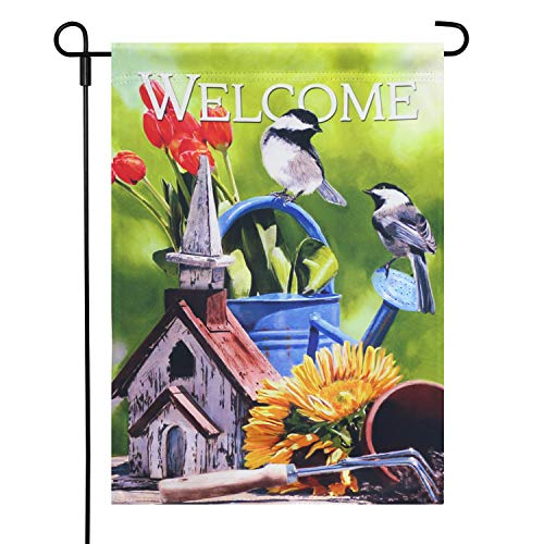 LAYOER Home Garden Flag 12 x 18 Inch Spring House Double Sided Bird Flowers Welcome