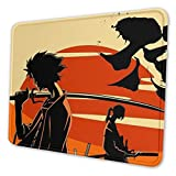 Sunset Samurai Champloo Fuu Mouse Pad Gaming Mouse Pad Anti Slip Rubber Base with Stitched Edge Computer Pc Mousepad for Home Office