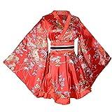 Women's Short Kimono Dress Floral Prints Japanese Geisha Costume Yukata Robe with OBI Belt (Red)