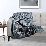 VERTKREA Skull Tree Throw Blanket, Flannel Throw Blankets, Cozy Soft Blanket for Couch, Bed, Chair, 40 x 50 Inches