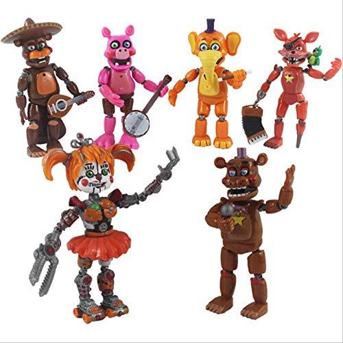 6Pcs / Set Fünf Nächte Bei Freddy Actionfigur Spielzeug, FNAF Bonnie Foxy Freddy Fazbear Bär Figuren Spielzeugpuppe Mit Licht