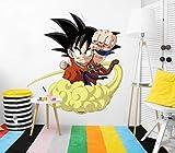 Vinilo de Pared Tamaño Real Dragon Ball Super Goku Niño Nube Producto Oficial | 103x110 cm |Vinilo para Paredes | Producto Original | Vinilo Adhesivo | Mural | Decoración Hogar | DBS