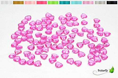 100 Dekosteine HERZEN 1,2 cm ( fuchsia Orchidee 183D ) // Streudeko Tischdeko Kunststoffherzen Steine PVC Acryl 12mm