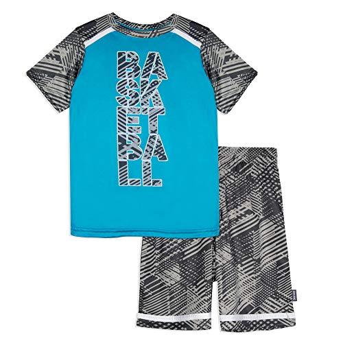 Spalding Boys Athletic Graphic Crewneck T Shirt Short Seeve Top and Shorts Gym Set, Teal Vapor, 2T