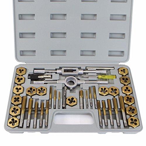 XtremepowerUS X7101 37101 40-Piece Titanium Coated Tap & Die Hexagon Metric Set Tungsten Steel MM Size Thread Tool with Storage Case, Gold