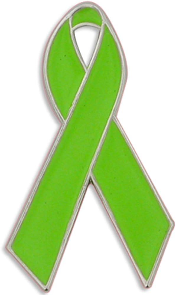 PinMart Lime Green Awareness Ribbon Enamel Lapel Pin