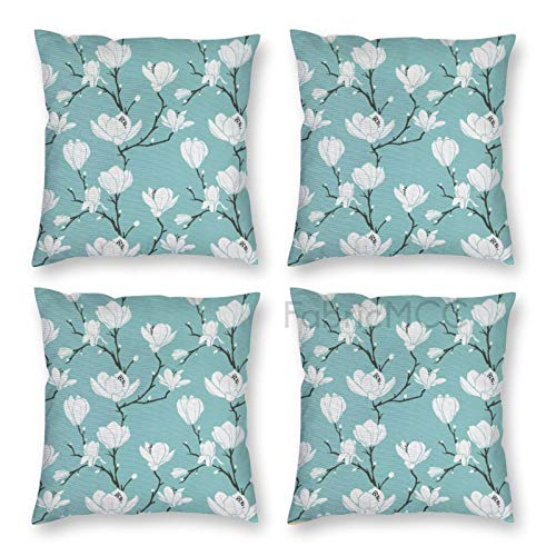 Pillow Covers 18 x 18 Inch Set of 4, Magnolia Flowering Tree Branches Nature Flourishing Seasonal Garden Theme, Dark Seafoam Decorative Throw Pillow Case Cushion Cover for Sofa Couch Sofa Home Decor