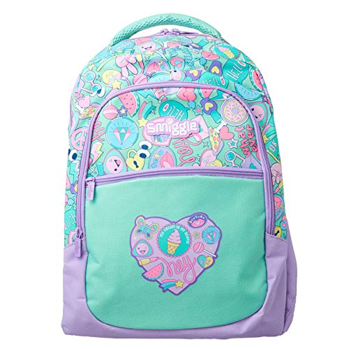 Smiggle Kids School Backpack with Three Zipped compartments for Boys and Girls from The Deja Vu Collection   Heart Print