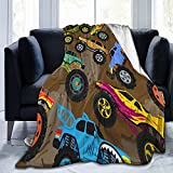 Monster Car Truck Show Cartoon Vehicle Or Car Fleece Blanket Throw Lightweight Super Soft Cozy Luxury Bed Blanket Microfiber 50'x40'