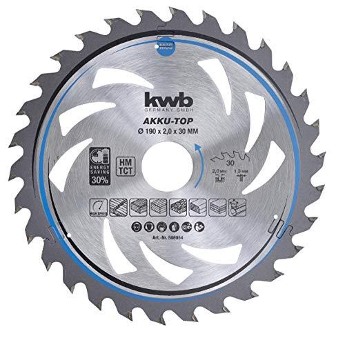 kwb 586954 AKKU-TOP Energy-Saving cirkelzaagblad Easy Cut, Ø 190 x 30 mm dunne snede met speciale wisseltand 30 tanden Z30