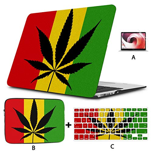 Macbook Air Case A1466 Cool Green Cannabis Leaf Icon Macbook Pro 2015 Cover Hard Shell Mac Air 11'/13' Pro 13'/15'/16' With Notebook Sleeve Bag For Macbook 2008-2020 Version