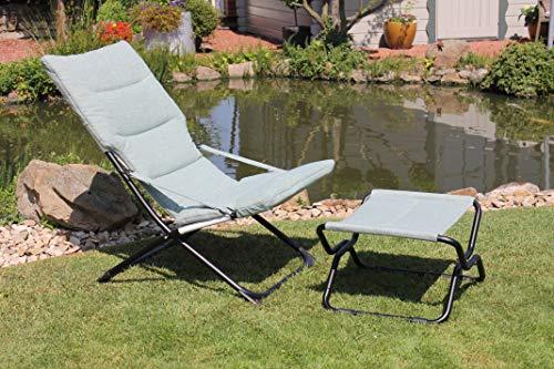 Leco Mia-Maria lichtblauwe stoel met kruk 84 63 88 cm ca. L 51 x B 51,5 x H 33,5 cm