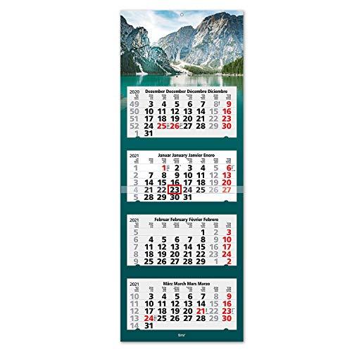 Vier-Monatskalender 2021 Bergsee I Wandkalender 4 Monate I 33 x 90 cm I mehrsprachig D/GB/F/ES I Jahresplaner mit Datumsschieber I zum abreißen I tr_010