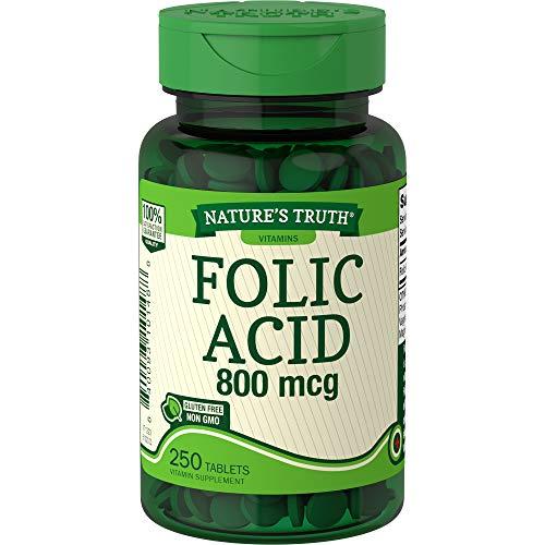 Nature's Truth Folic Acid 800 mcg   250 Tablets   Vegetarian, Non-GMO & Gluten Free