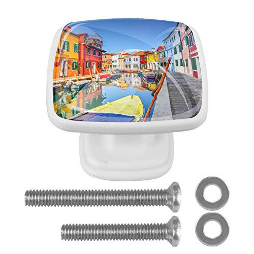 4 pomos de cristal para puertas de armarios y cajones, diseño de casas coloridas en Burano, Venecia, Italia