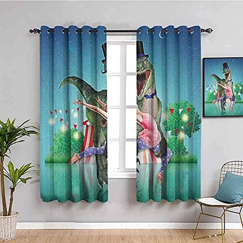 LucaSng Cortinas de Opacas - Azul Estrellado Dinosaurio niña - 280x245 cm para Sala Cuarto Comedor Salon Cocina Habitación - 3D Impresión Digital con Ojales Aislamiento Térmico Cortinas