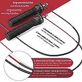 Corde a Sauter Ajustable Jump Speed Rope + Livret d'Exercices & Câble de Rechange | 2 Câbles Acier Ajustables, Roulements à Billes Expert Poignées Antidérapantes | Sport Crossfit Fitness Boxe