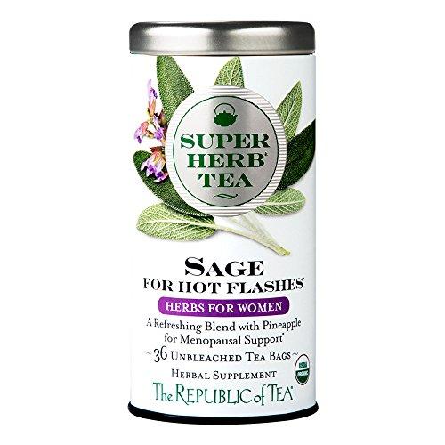 The Republic of Tea Organic Sage SuperHerb Tea For Hot Flashes, 36 Tea Bags