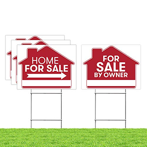 For Sale By Owner Sign - 4 Premium Yard Signs Bulk Pack - 18' x 24' Inches - Large Directional Arrows - Double Sided Real Estate Sale Stand Post with H Wire Stakes - Realtor Agents Supplies (Red)