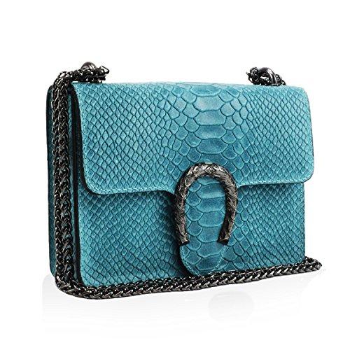 Glamexx24 Damen Clutch echt Leder Tasche Abendtasche mit Kette Handtasche Made in Italy Pastell Türkis