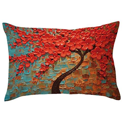 Funda de cojín Ronamick de 30 cm x 50 cm, rectangular, gran árbol, impresión funda de cojín feliz, estampado multicolor transpirable (J)