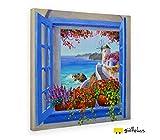Giallobus - Quadro - Stampa su Tela Canvas Mikki SENKARIK - Quadro con Paesaggio Santorini Song - Quadri Moderni di Tela - Vari Formati - 100 x 100 CM