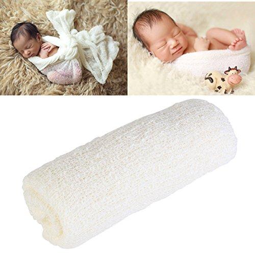 Tinksky Neugeborenes BNewborn Fotografie niedlichen Baby Bilder Prop Neugeborenen Fotografie Requisiten Stretch Wrap (Creme weiß)