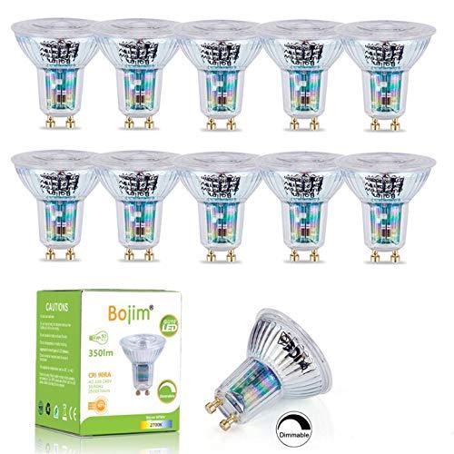 Bojim Bombillas Led Gu10 regulables,10xlámparas Gu10de 2700K, 6W 350LMSpotlight Bulbs Equivalente 50W Halógena, 36°Luz Blanca Cálida Spotlight LED Bajo consumo,Bombillas Cristal AC220-240V