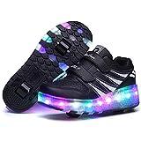 Miarui Roue Chaussures de Sport Enfants LED Clignotante Chaussures à Skates avec roulettes Doubles Bouton Poussoir Ajustable pour Garçons et Filles Enfants,Noir,27