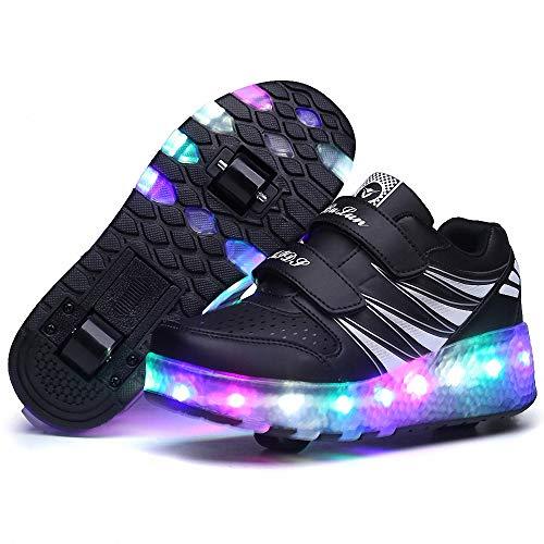Kinder Led Roller Schuhe LED Leuchtend Schuhe mit Rollen 7 Farbe Farbwechsel Rädern Sneaker Unisex-Kinder Skateboard Schuhe für Kinder Jungen Mädchen,Schwarz,40