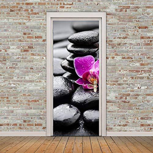 Pegatinas Puerta 3D Murales Wallpaper Autoadhesivo PVC Impermeable Adhesivos y Pegatinas Pared Pintado BañoPara Cocina Sala DIY Art Decorativas PóSter ExtraíBle 77X200cm-Piedra Flor
