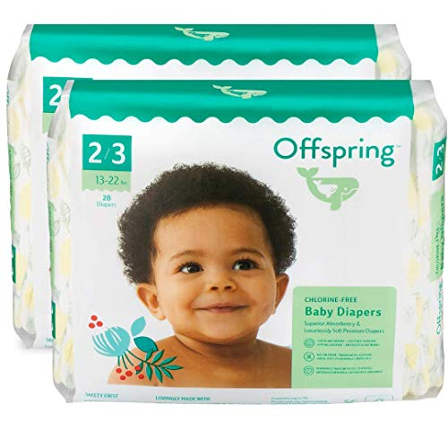 Offspring Disposable Diapers Size 2 to Size 3 Eco-Friendly Premium Ultra Soft - Double Leak Guard Technology - Made with Sustainable Materials (Lemon Print 56 Count 13-22lbs.)