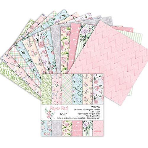 24 Stück Scrapbook Papierblock Blumenmuster Exquisite Kartonpapier, Vintage gestanztes Papier, DIY, dekoratives Papier, Bastelarbeiten (15,2 cm)