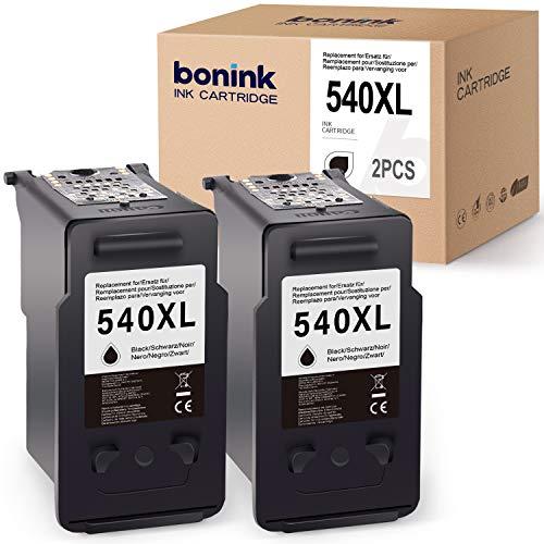 BONINK 2 Compatible con los Cartuchos de Impresora Canon PG-540XL Negros para Canon PIXMA MG4250 TS5150 TS5151 MX395 MX475 MG2150 MG2250 MG3150 MG4150