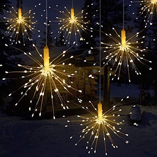 Kreativ Pendelleuchte Feuerwerk Lichtkette 120 Lichter wasserdicht Weihnachtslichterkette mit Fernbedienung Batteriebetrieben (Ohne Batterie)